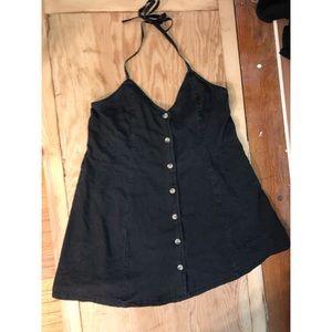 ASOS black denim halter dress
